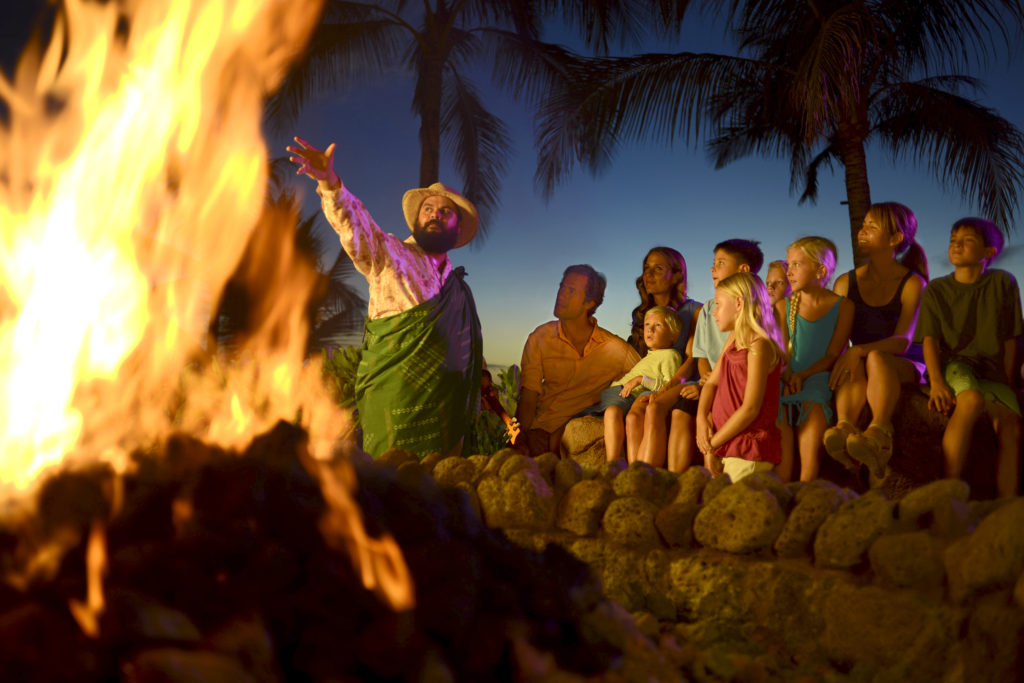 Uncle shares mo'olelo, or storytelling, with Aulani guests on Oahu