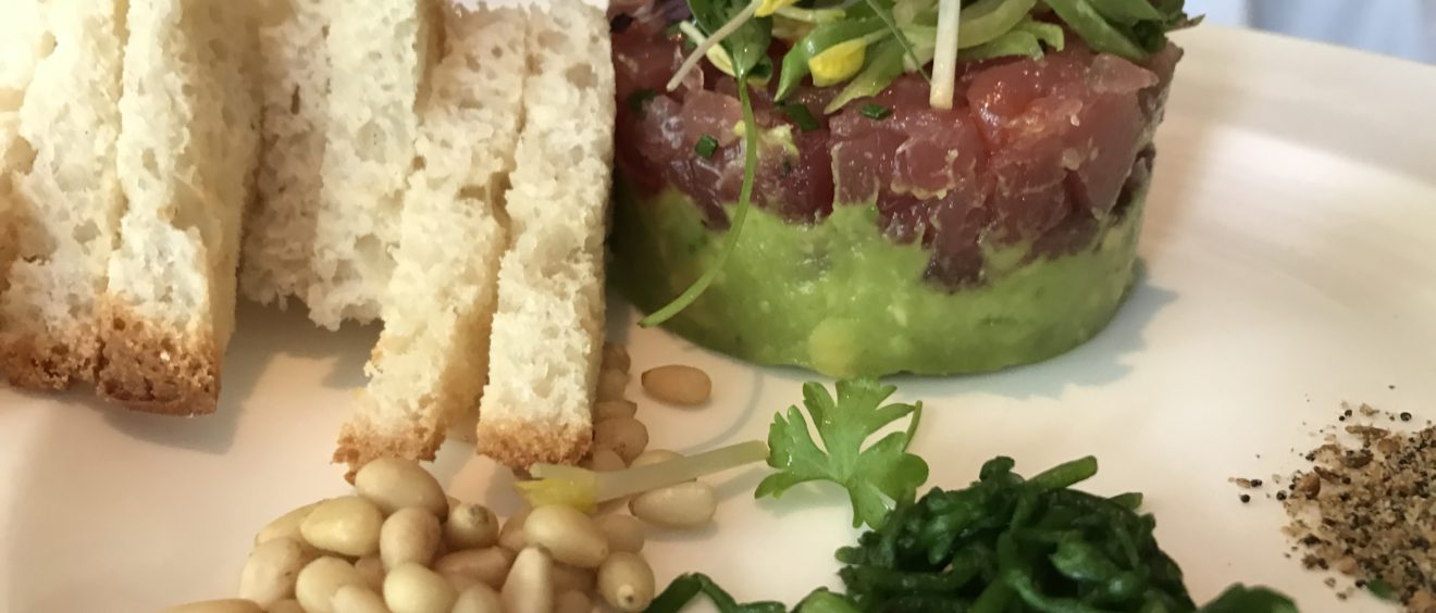 Ahi tuna tartare with avocado, sea beans, dukkah spice, pine nuts, and gluten free bread served at the Polo Lounge at the Beverly Hills Hotel