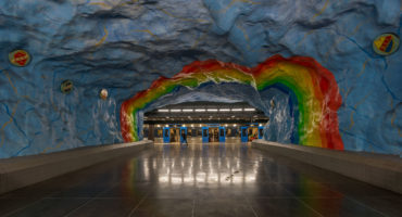 Public art adorns the walls of Stockholm's Stadion station, Sweden